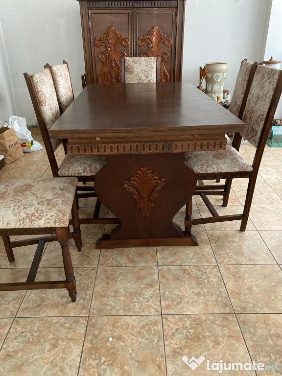 Masa extensibila cu 6 scaune si comoda, lemn, sufragerie