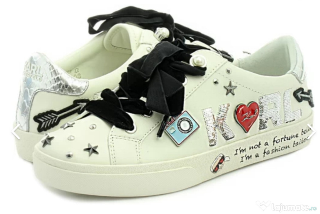 Sneakers/Adidași Karl Lagerfeld, damă, albi, din piele.