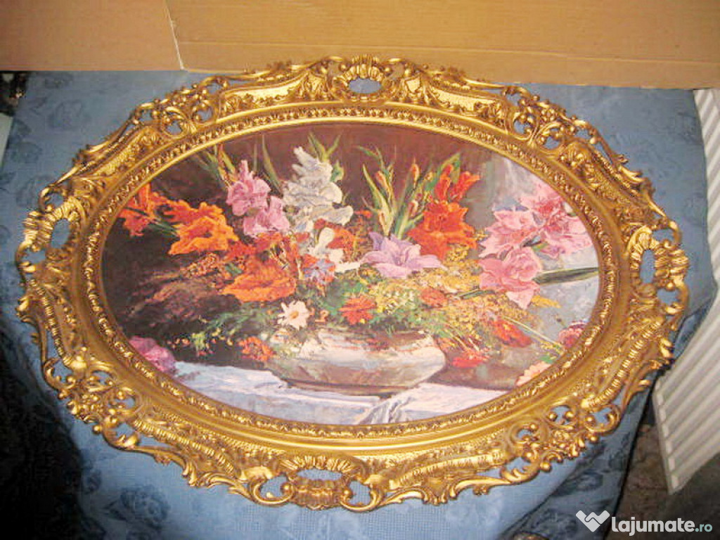 7695-Rama mare stil Rococo-Foto Vaza gladiole din calamina.