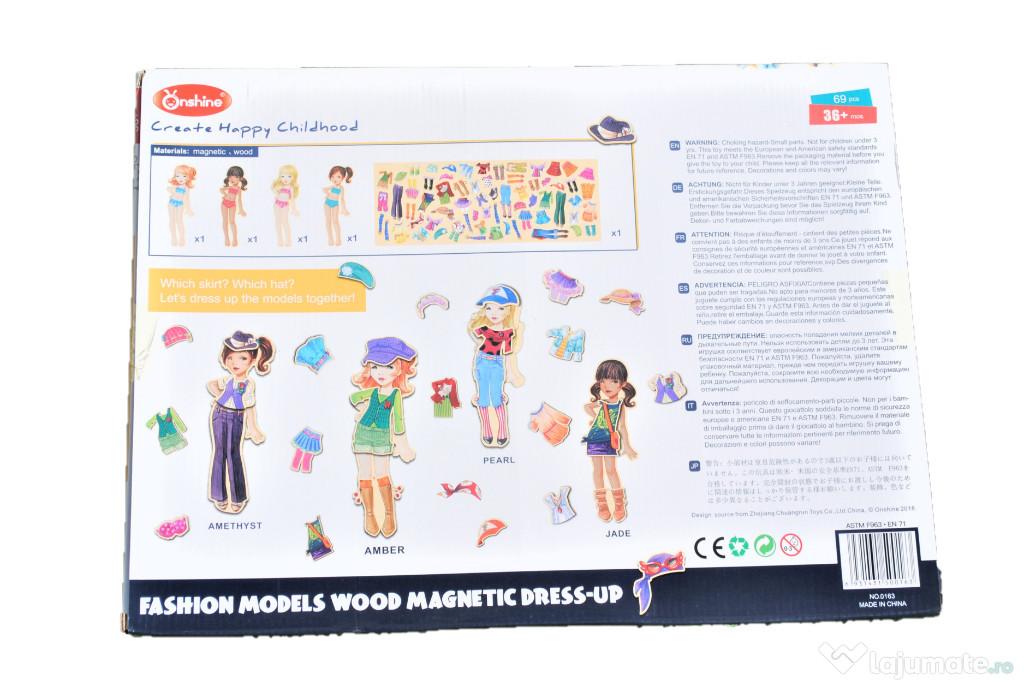 Joc educativ tip puzzle cu piese magnetice, Imbraca fetele