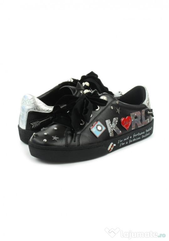 Sneakers/Adidași Karl Lagerfeld, negrii, damă, piele.