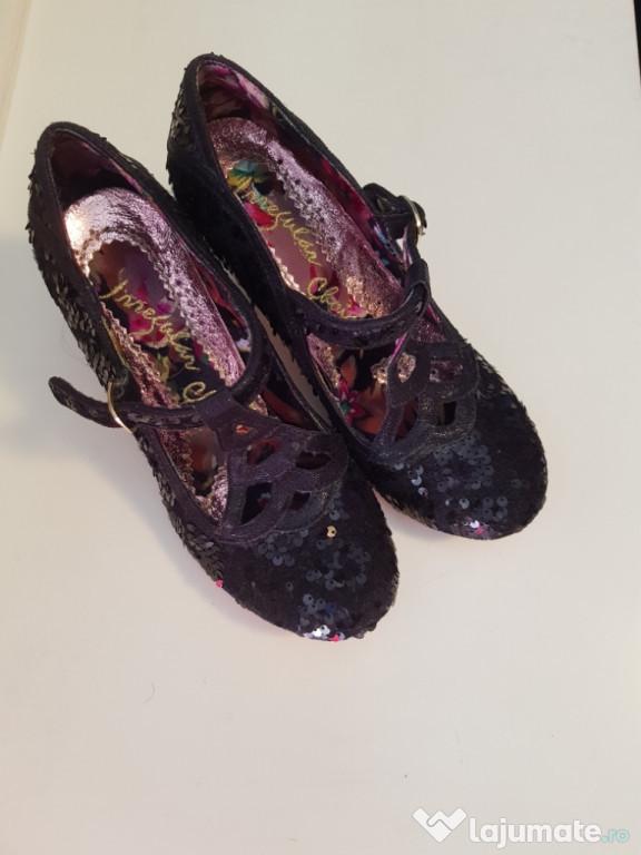 Pantofi Irregular Choice, damă, eleganți, negrii, paiete.