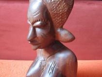 Sculptura africana Bust nud 30cm-lemn, handmade Gambia'79