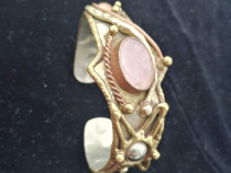 Bratara vintage cu piatra cuart roz