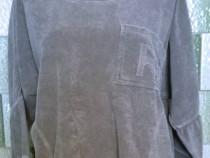 Bluza gri deschis larga Oversized maneci 3/4 fluture buzunar
