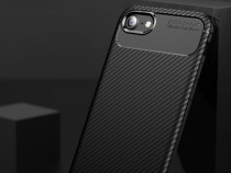 Iphone 6 6S 7 8 - Husa Carbon Din Silicon Culoare Neagra