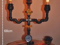Lampa sfesnic suport lemn steampunkdesigncj, lampa steampunk