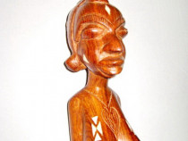 A439-Statuieta Femeie Africa veche lemn palisandru.