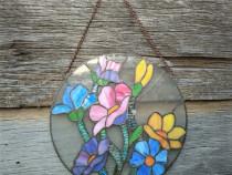 Vitraliu rotund cu flori