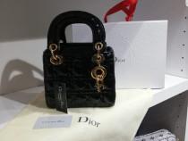 Genti Christian Dior mini model Lady, logo metalic auriu/Fr