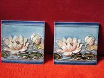 Art Nouveau -placa ceramica 3d vintage -Nuferi -handmade