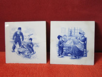 Art Nouveau -placa ceramica vintage Somag Meissen -2 bucati