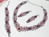 Set floral mov si roz din 3 piese, handmade