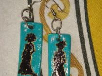 Cercei handmade, pictati manual, turcoaz auriu