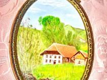 37a-Aplica perete foto peisaj montan cabana metal bronzuit.
