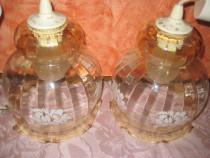 Lampadare pereche din sticla plasticata in forma de clopotei