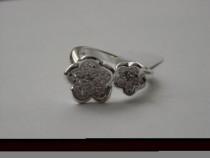R41,inel argint 925,nou/marcat, masiv,reglabil, flori zircon