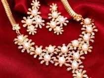 Set cu perle,elegant placat aur 18k
