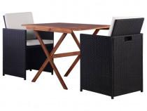 Set bistro, 3 piese, negru, poliratan și lemn 43902