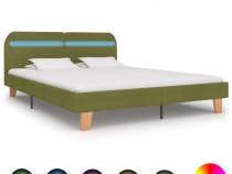 Cadru de pat cu LED-uri, verde, 180 x 200 cm, 280910