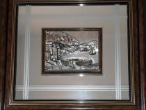 Tablou mare argint in relief cu oglinda (50x56)