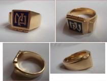 Inel din aur + email pt barbati, unicat (perioada comunista)
