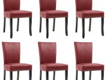 Scaune de sufragerie, 6 buc., roșu vin, piele 277165