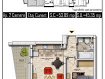 Apartament 2 camere, bl. finalizat 2020, 46mp militari