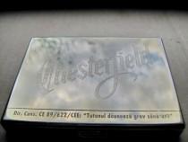 B563-Tabachera CHESTERFIELD metal aurit. Marimi: 10/ 8 cm.