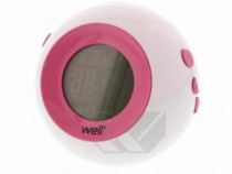 Ceas digital cu alarma, bubble, roz, Well