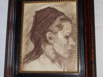 Portret de femeie, lucrare grafica deosebita