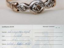 Inel 2 diamante argint in aur 1920