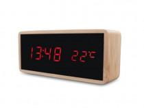Ceas de birou iluminat LED, USB, 3 alarme,afisaj temperatura