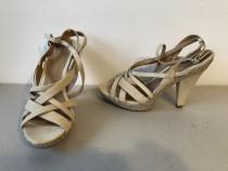 Sandale Bata originale, noi, din piele naturala intoarsa la