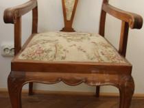 Jilt vintage Stil Florentin; Fotoliu lemn masiv; Scaun