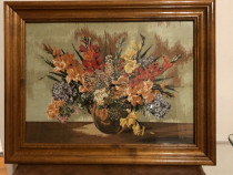 Goblen lucrat manual*cosul cu flori -gladiole*vaza cu flori