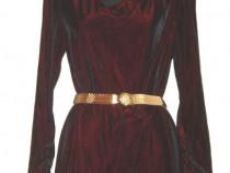 Rochie din catifea elastica fina, grena inchis