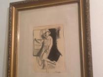 Schita in Creion - Doamna eleganta - stil frantuzesc