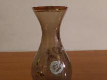 Vaza din sticla Fumé, Pictata Manual cu Aur