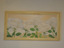 Tablou decorativ cu trandafiri albi 77x40cm
