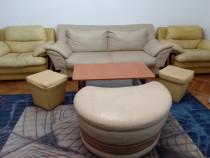 Canapea 2 locuri + 3 tabureți +2 mese +4 scaune