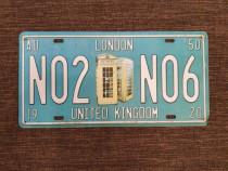Placuta metalica LONDON, gen numar auto vintage.