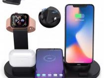 Stand Birou 3 in 1 Incarcare Wireless Telefon Ceas Apple Wat