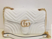 Geanta, alba Gucci Marmont, saculet/etichetă incluse/Italia
