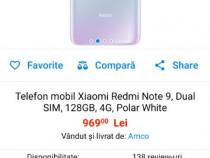 Telefon mobil Xiaomi Redmi Note 9, Dual SIM, 128GB, 4G, Fore