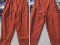 Pantaloni vintage din piele naturala, fina, caramiziu brick