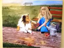"Tabloul ""Prietenie, iubire, relaxare"",pictura ulei panza"