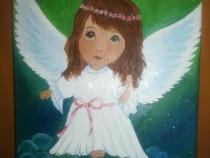 """Tablou pictat """"Ingeras"""" - 25*30 cm"""