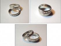 2 inele tip verighete, vechi, din argint
