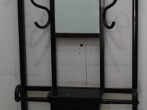 Cuier Vintage Thonet; Cuier cu oglinda; Cuier lemn masiv